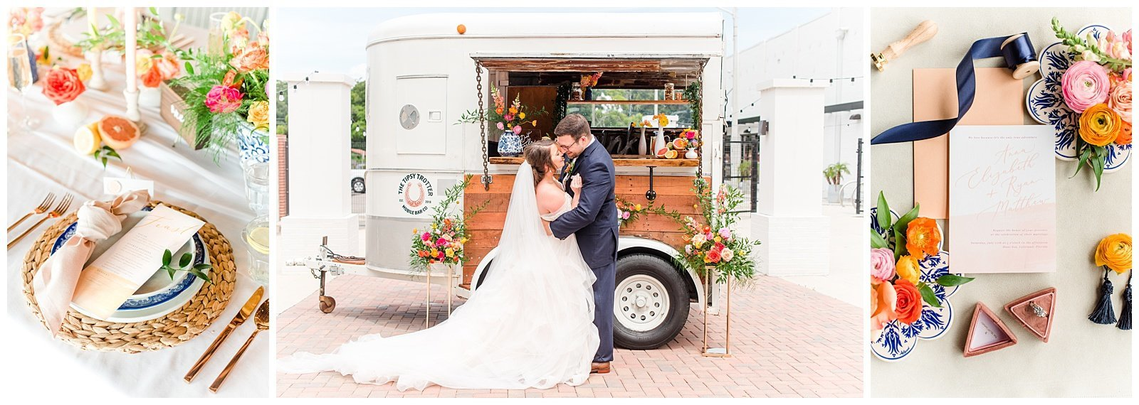 Bright and Colorful Citrus Wedding | Mobile Drink Cart | Sacramento California | Kylie Compton Photography
