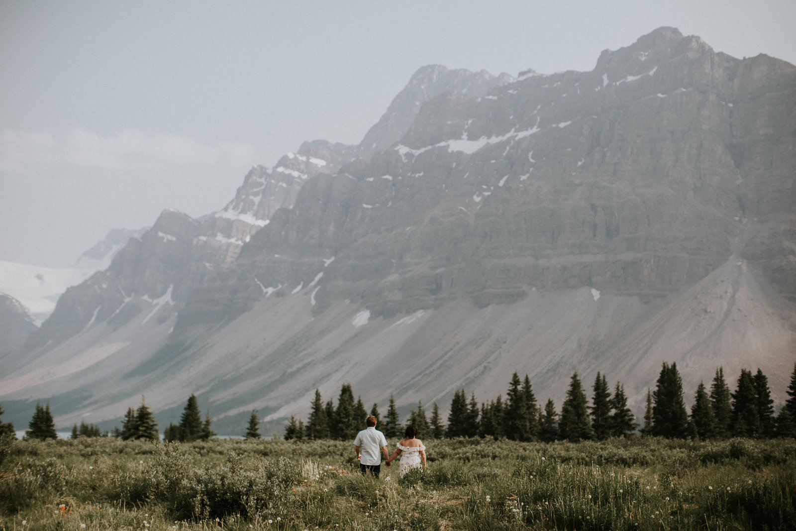 Banff Adventure Engagement Photos Bow Lake