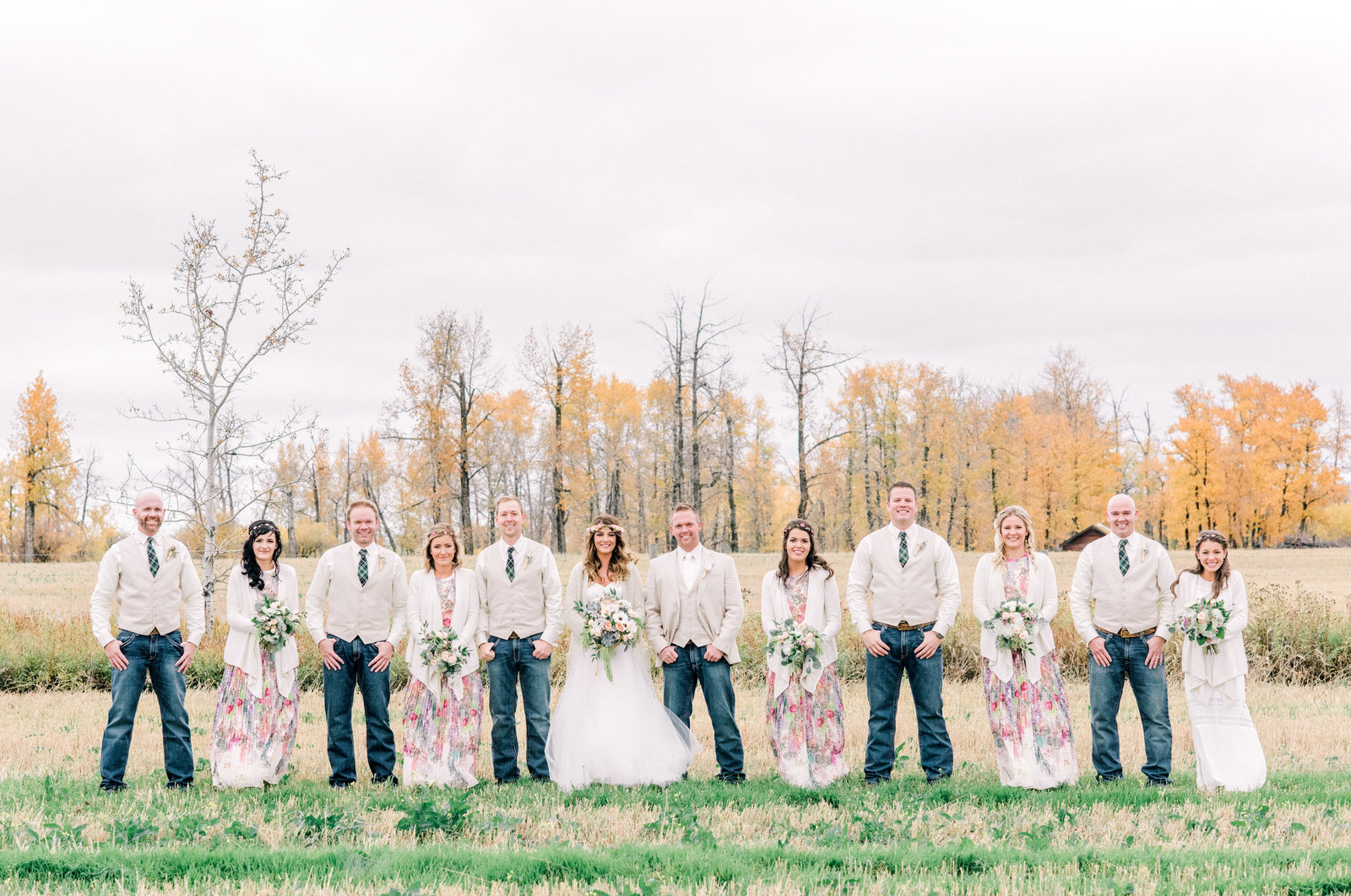 lacombe wedding with bridal party