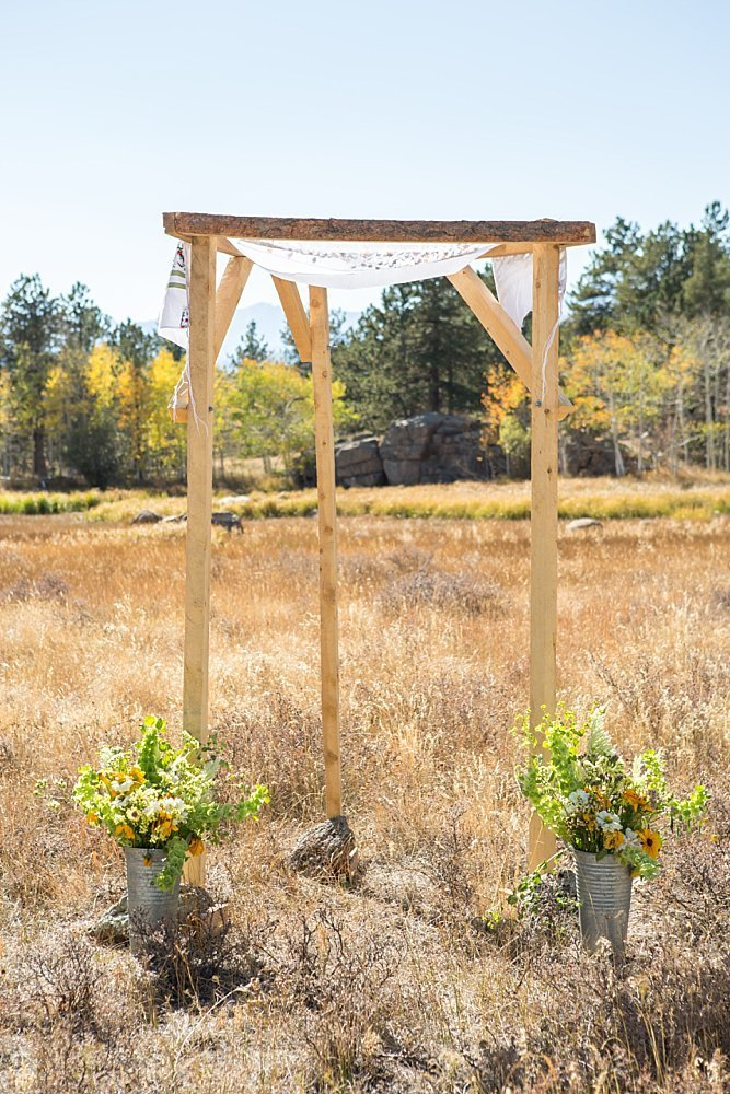 Wedding ceremony location with fall colors in Jamestown Colorado