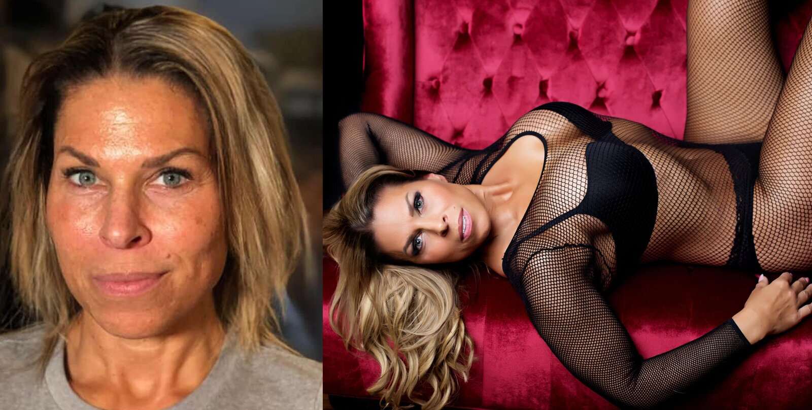 Blonde woman  in a before and after hair & makeup photo laying on a red couch in black lingerie