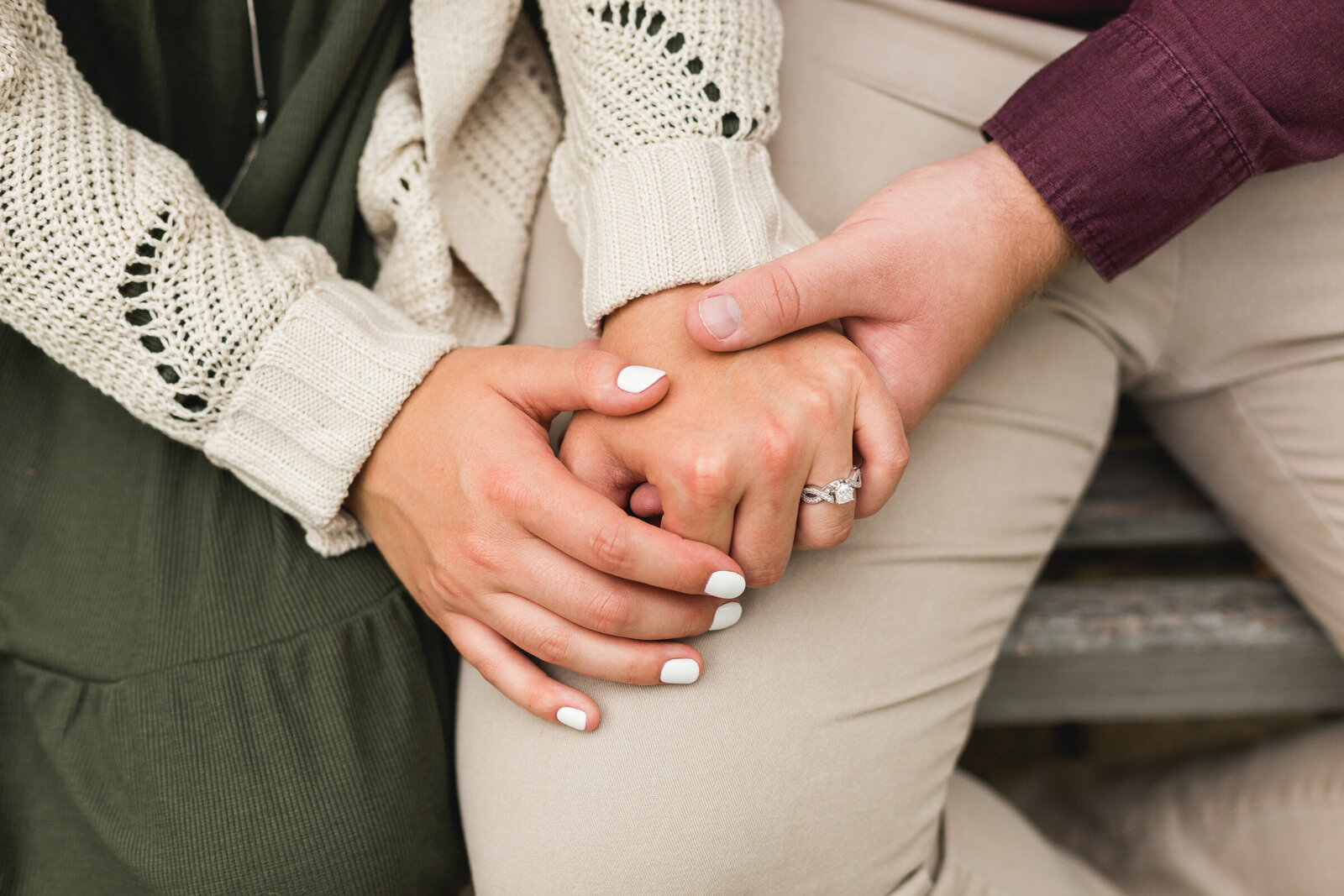 engaged couple holding hands during photography session ohio