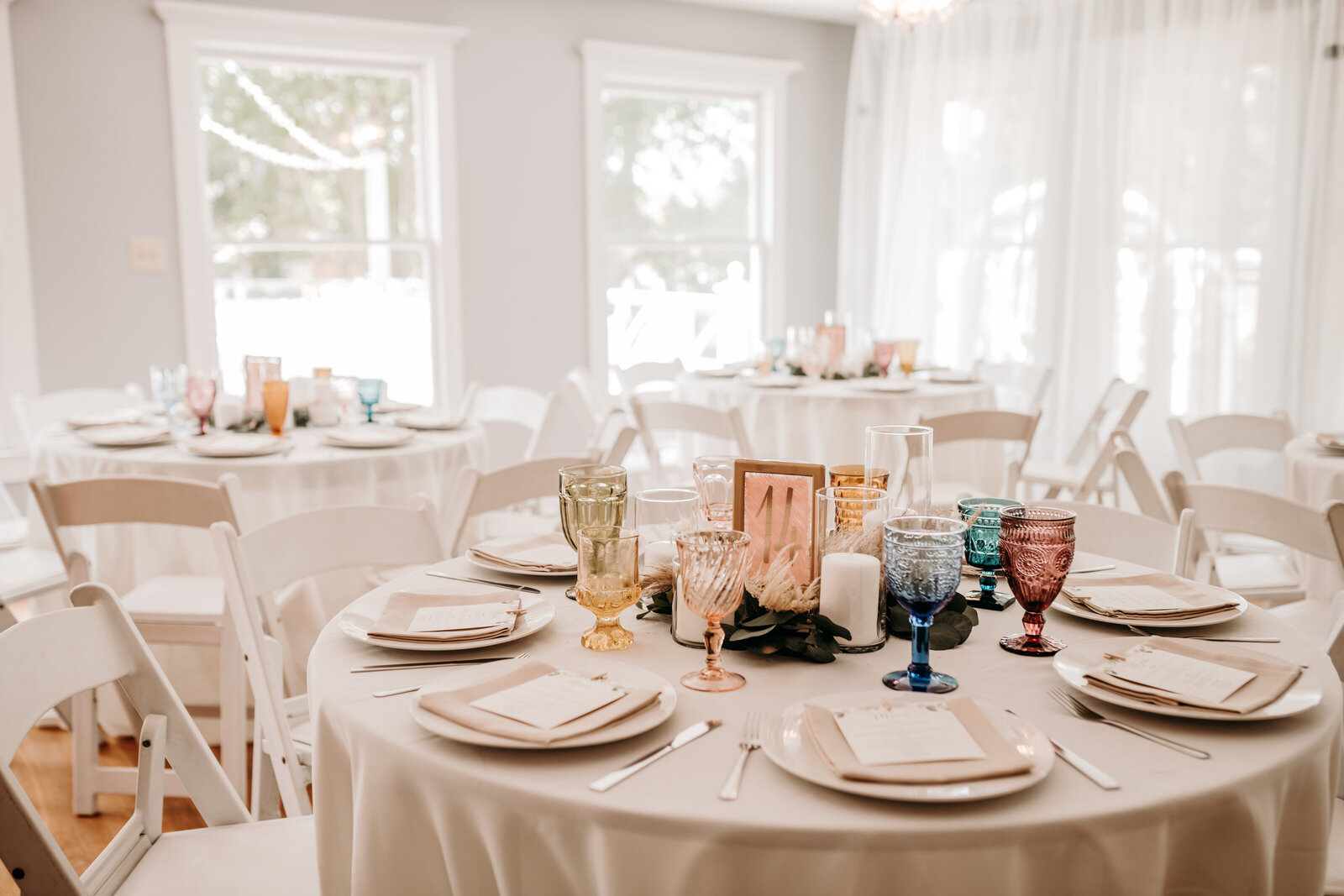 J.Michelle Photography photographs reception tables at Athens, Ga Wedding