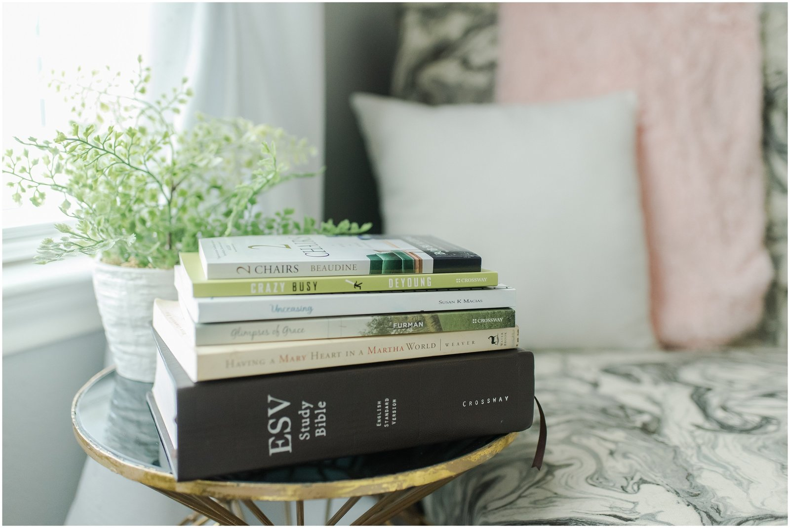 Books on end table
