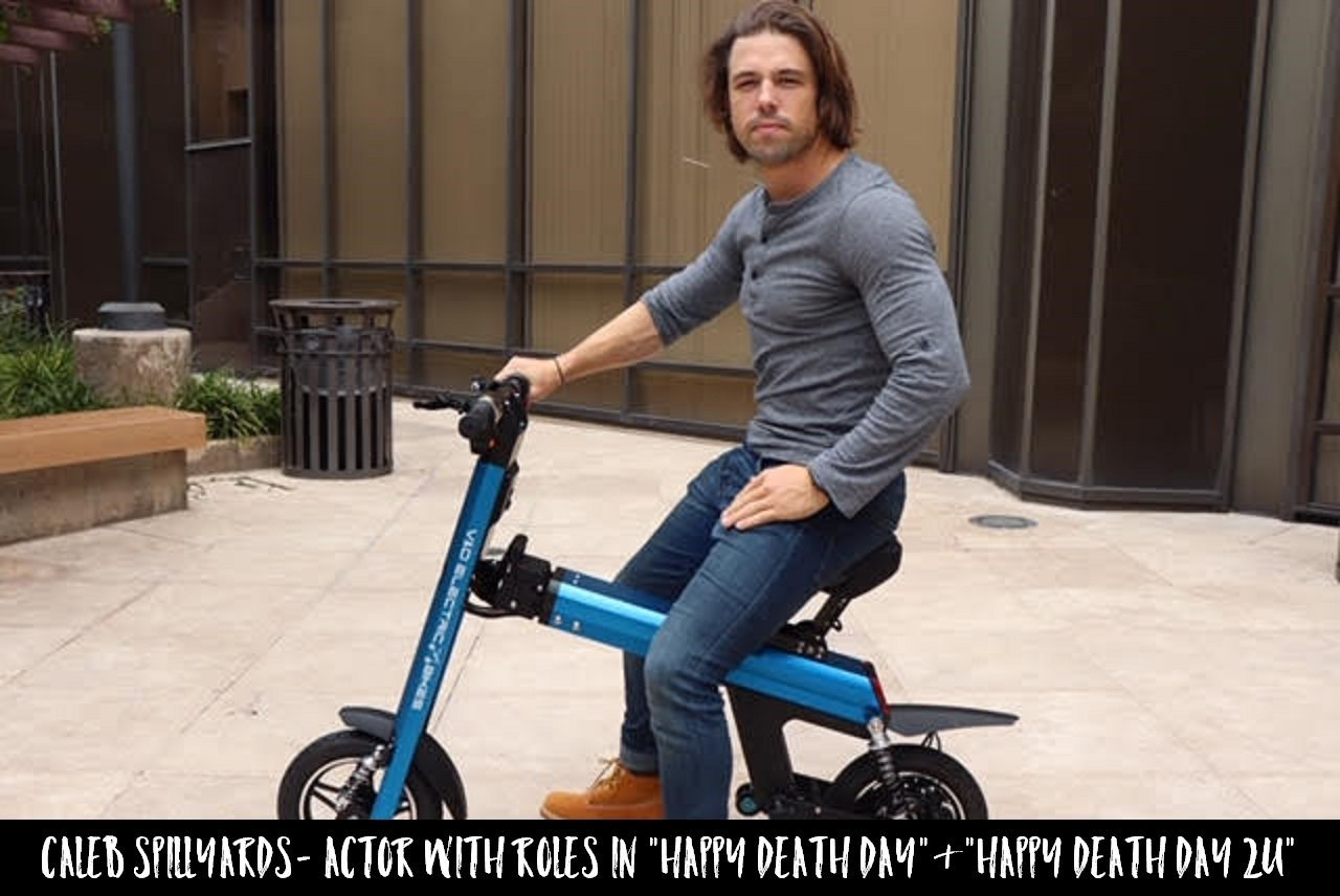 Actor Caleb Spillyards is cruising the streets of LA on a Blue Go-Bike M2