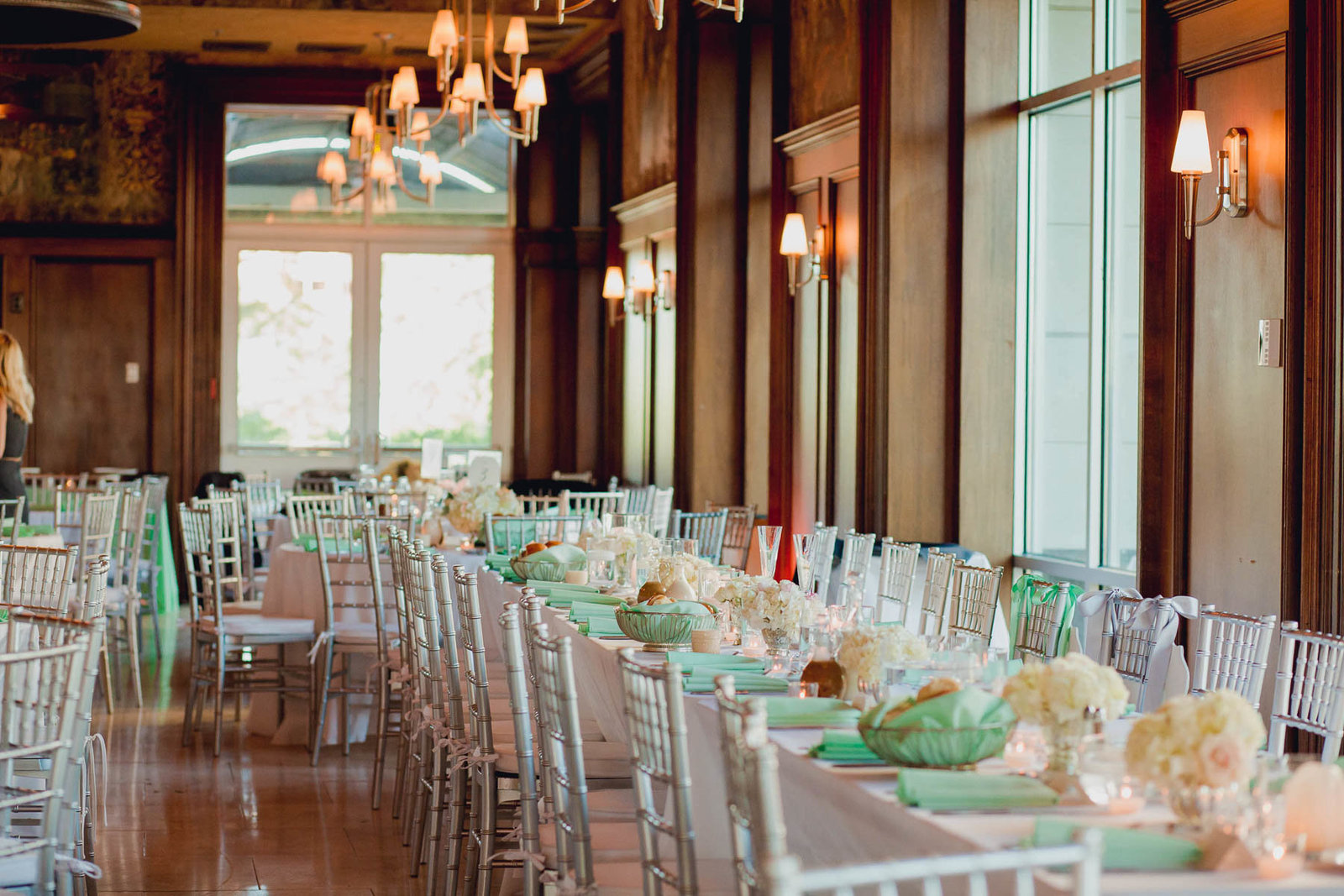 Tables are set up for reception, Harborside East, Mt Pleasant, South Carolina