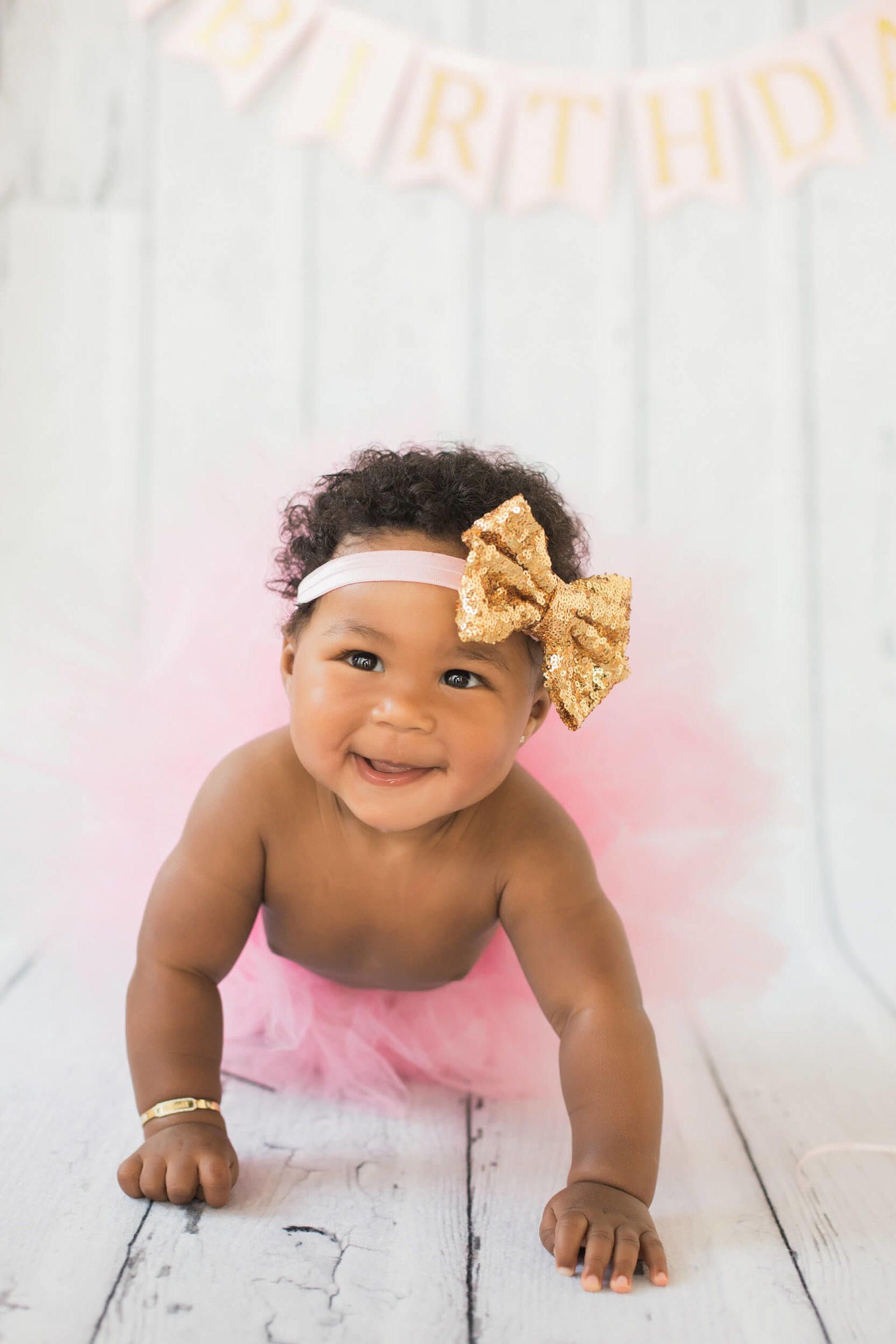 pink tutu half birthday photography