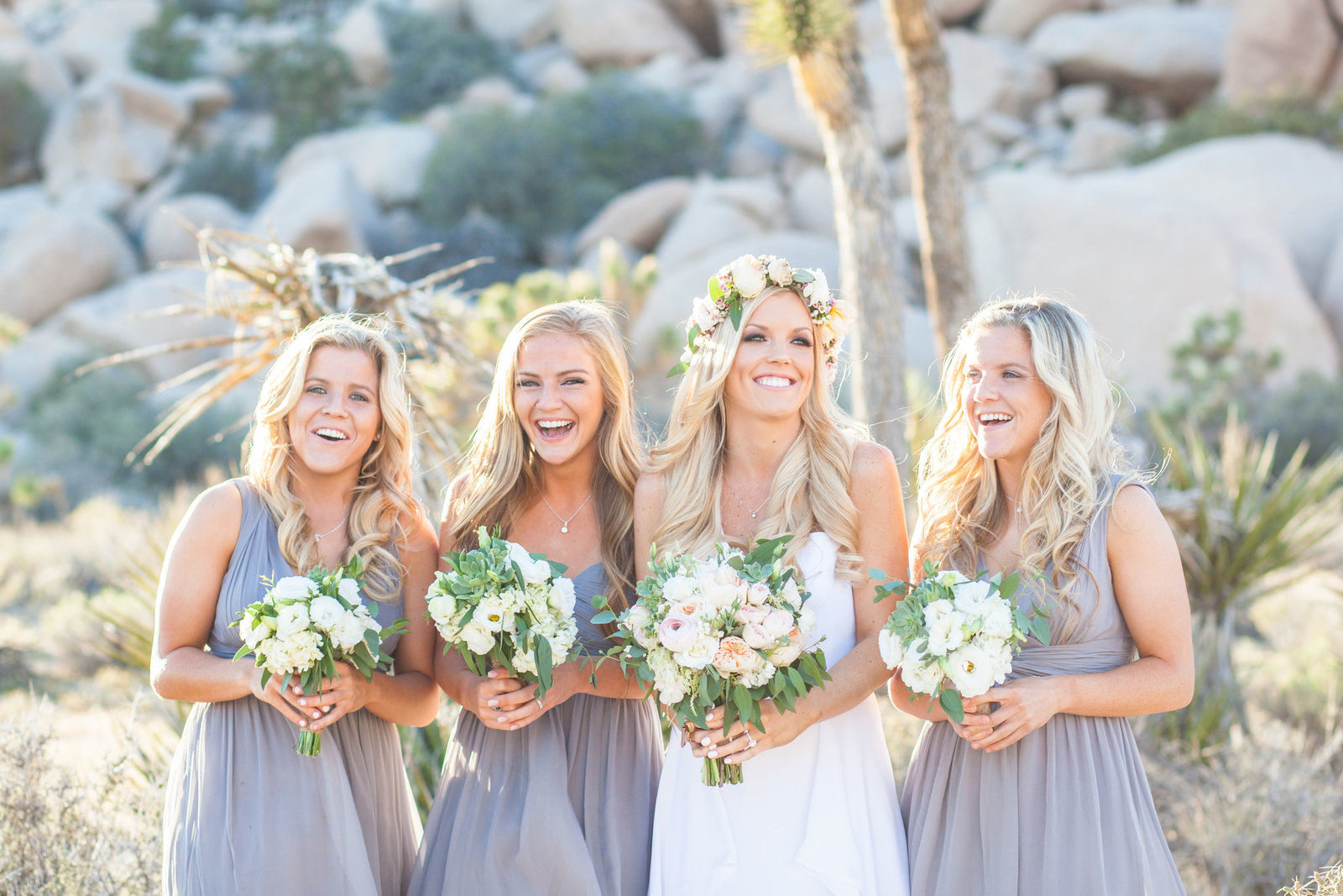Joshua Tree Wedding Bride with sisters laughing