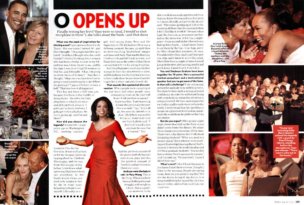 "People magazine ran a great article about the 3 day ""Legends"" event hosted by Oprah Winfrey. To say this was a blessed opportunity is an understatement.  We were very honor to have our photos appear on 13 pages and grace the cover of the magazine."