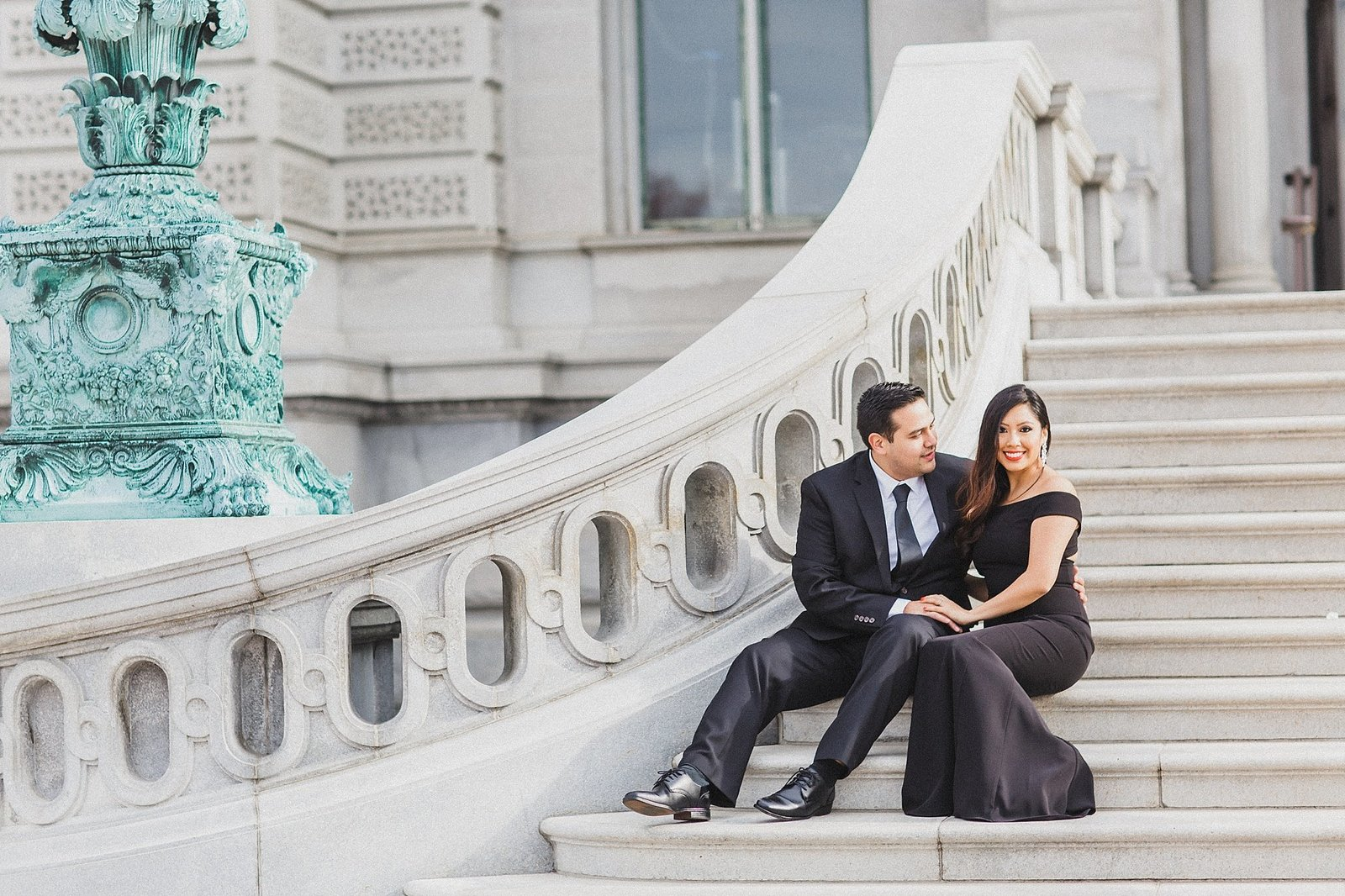 M Harris Studios_DC Wedding Photographer_DC Engagement_bride and groom Library of Congress steps