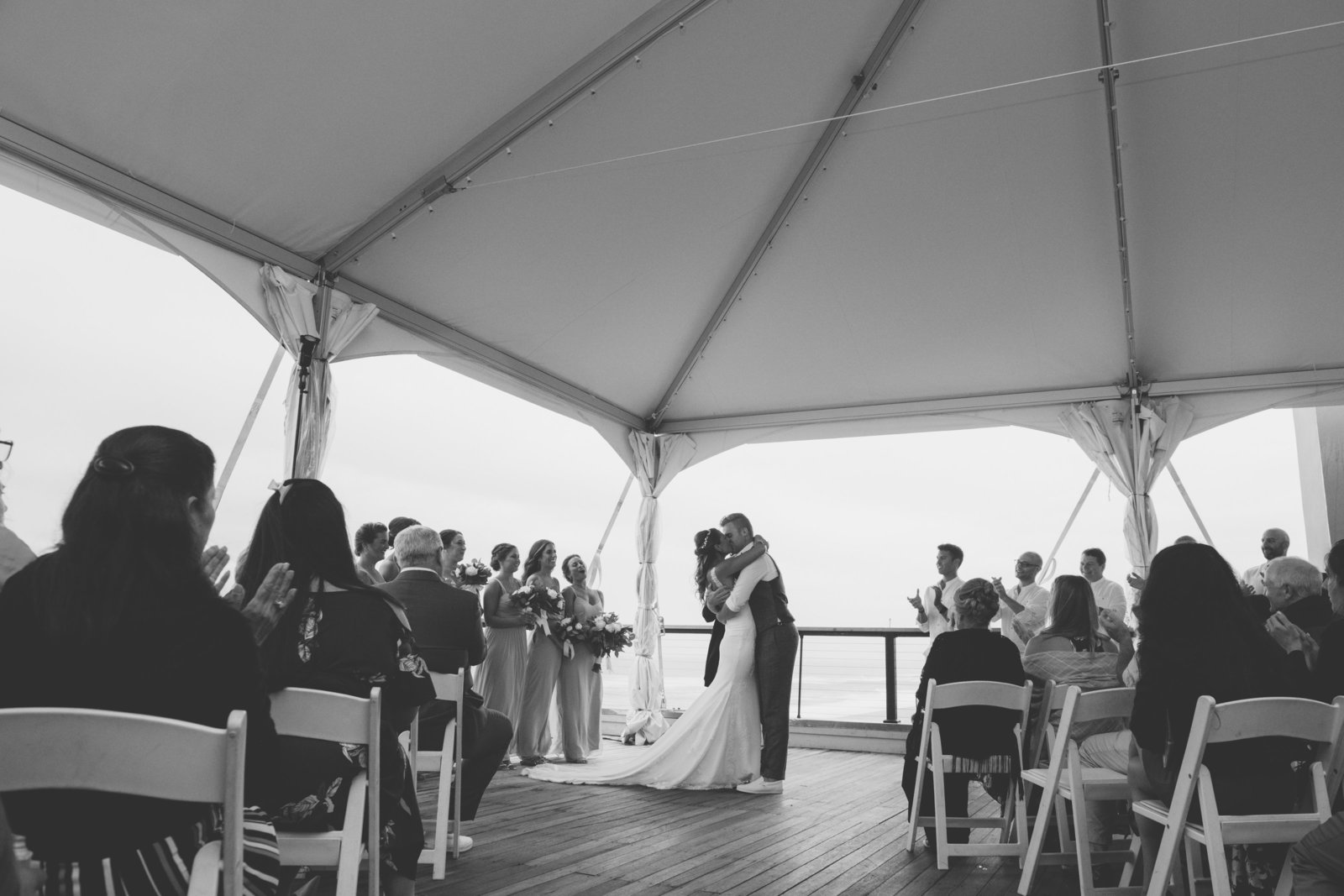 black and white photo of bride dancing Gurneys Montauk Resort wedding