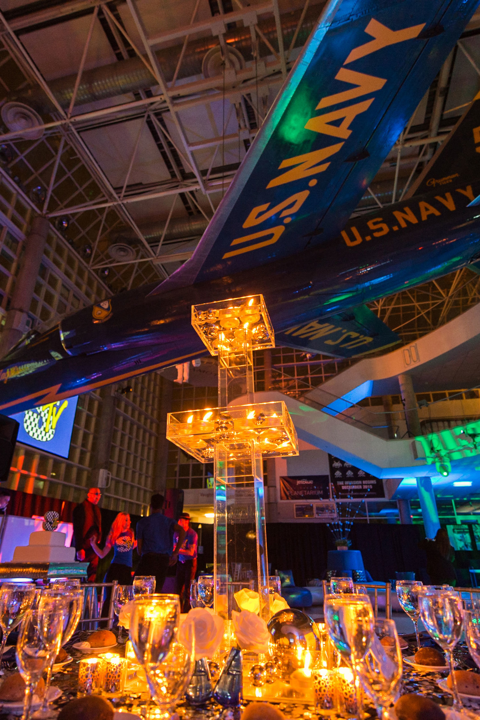 Center piece lit up at Cradle of Aviation