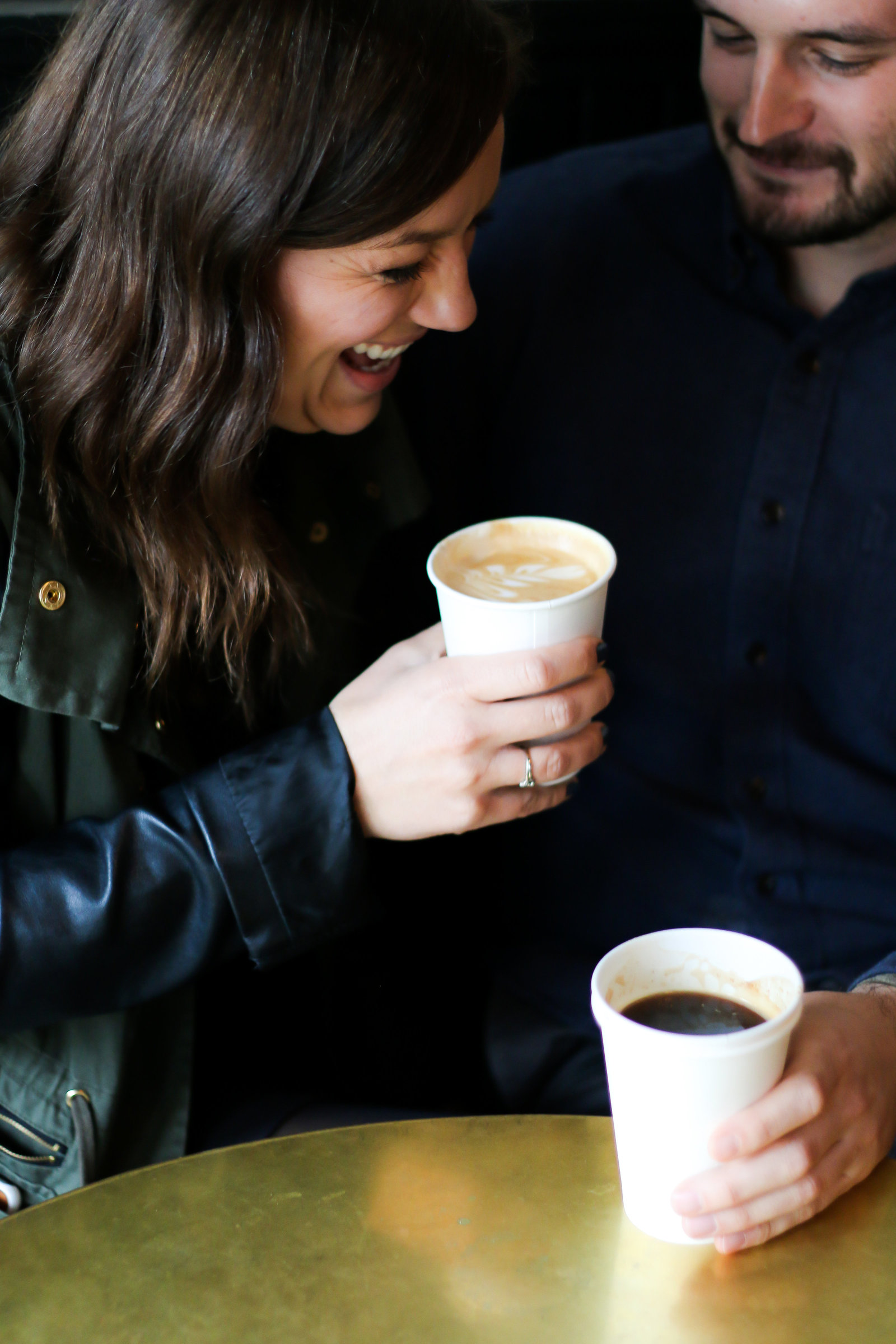 engaged couple photography at coffee shop in Los Angeles