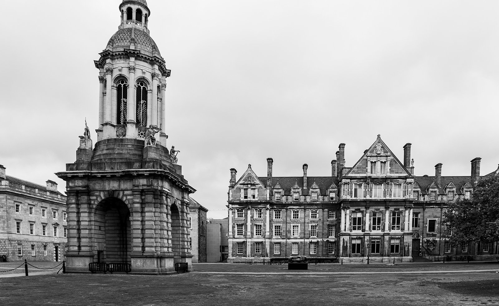 Landscape view of Trinity College campus in Dublin Ireland