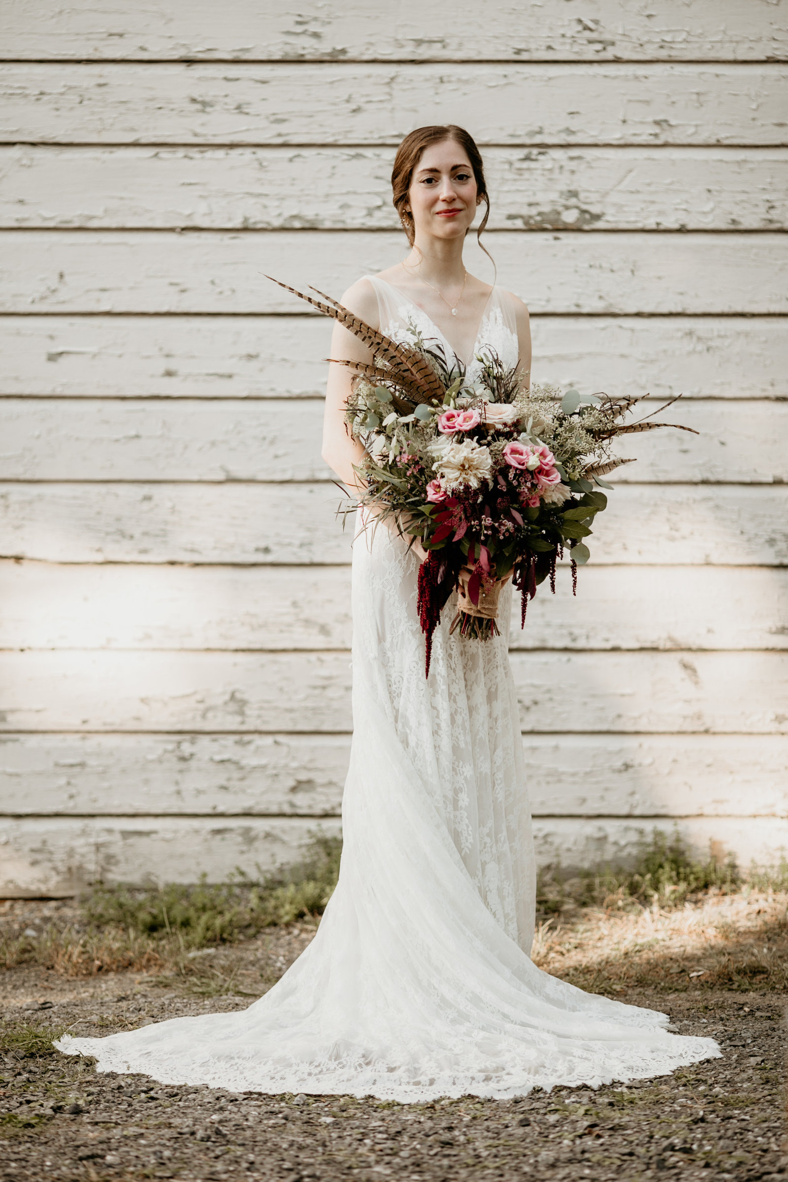 A bride and her bouquet.