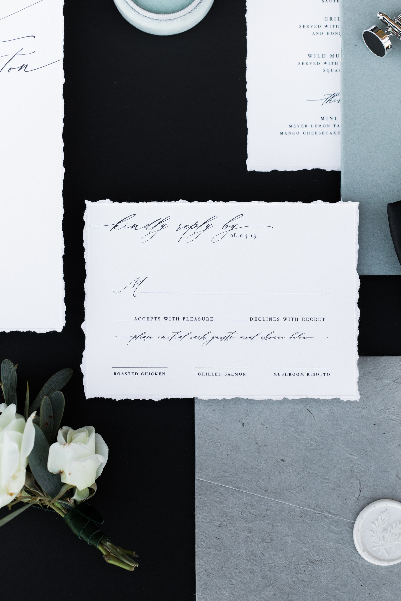 wedding RSVP and envelopes
