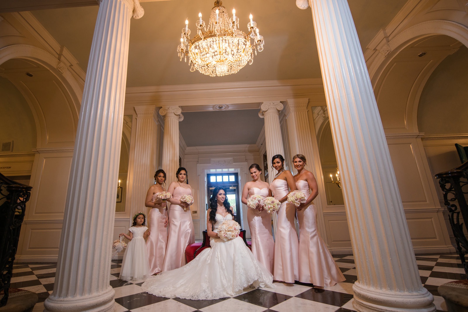 Bride and her bridesmaids at Glen Cove Mansion