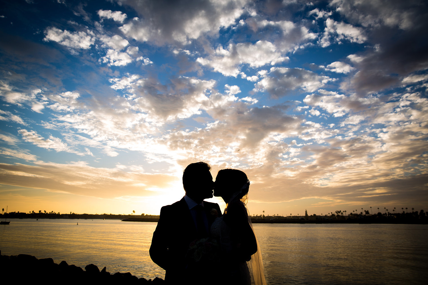 Vibrant Sunset Wedding Portrait over Mission Bay in San Diego