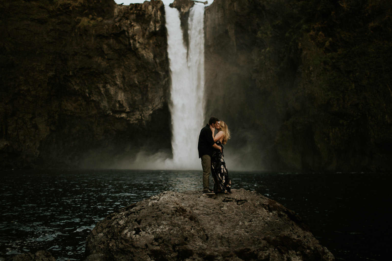 Snoqualmie Falls Engagement Seattle WA Couple Kissing