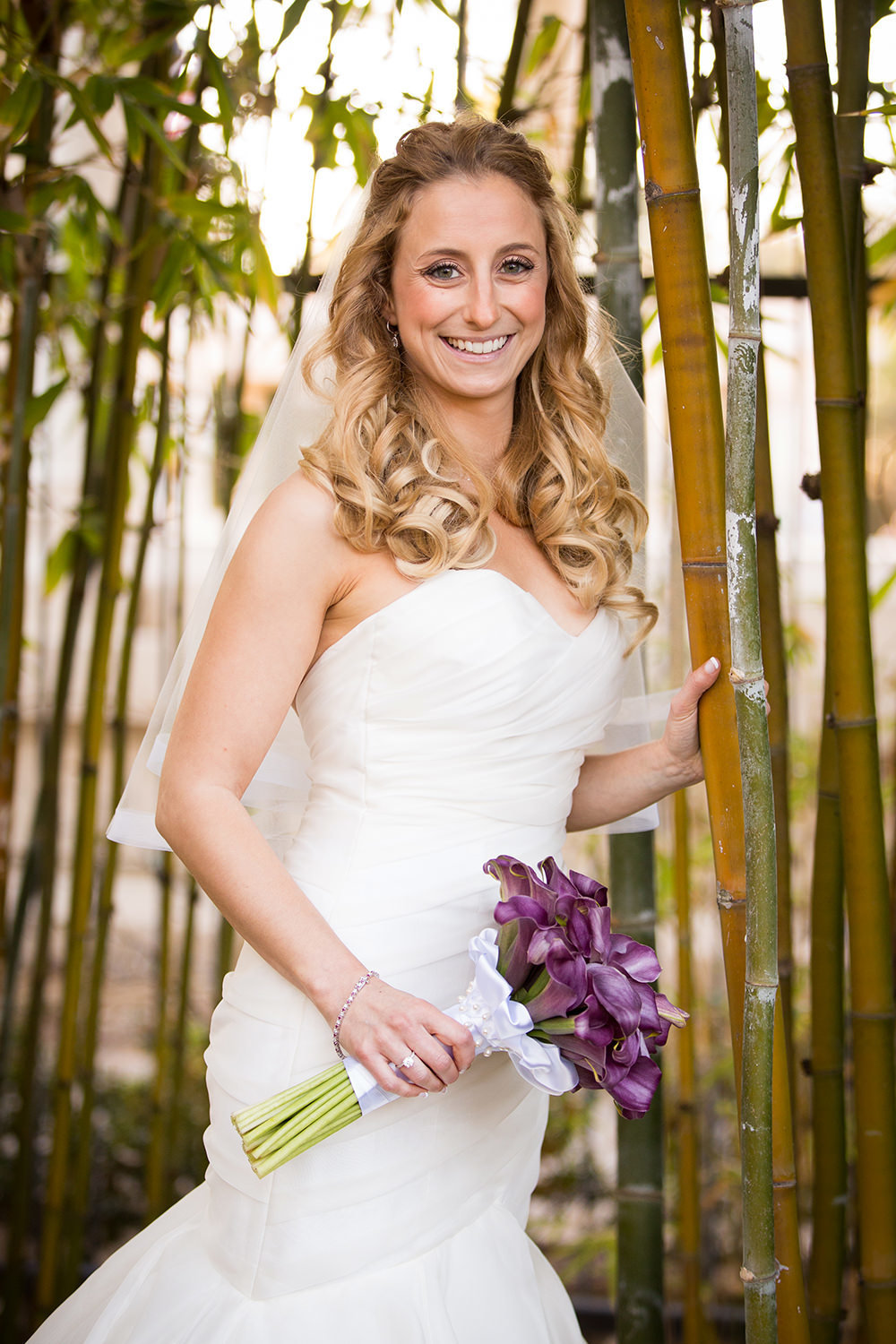 bride with purple flowers