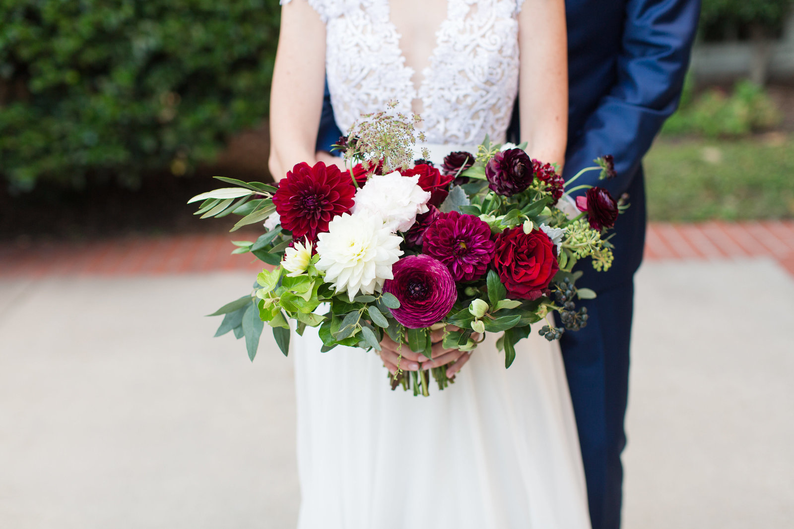 red burgundy and ivory bridal bouquet from everyly alaine florals