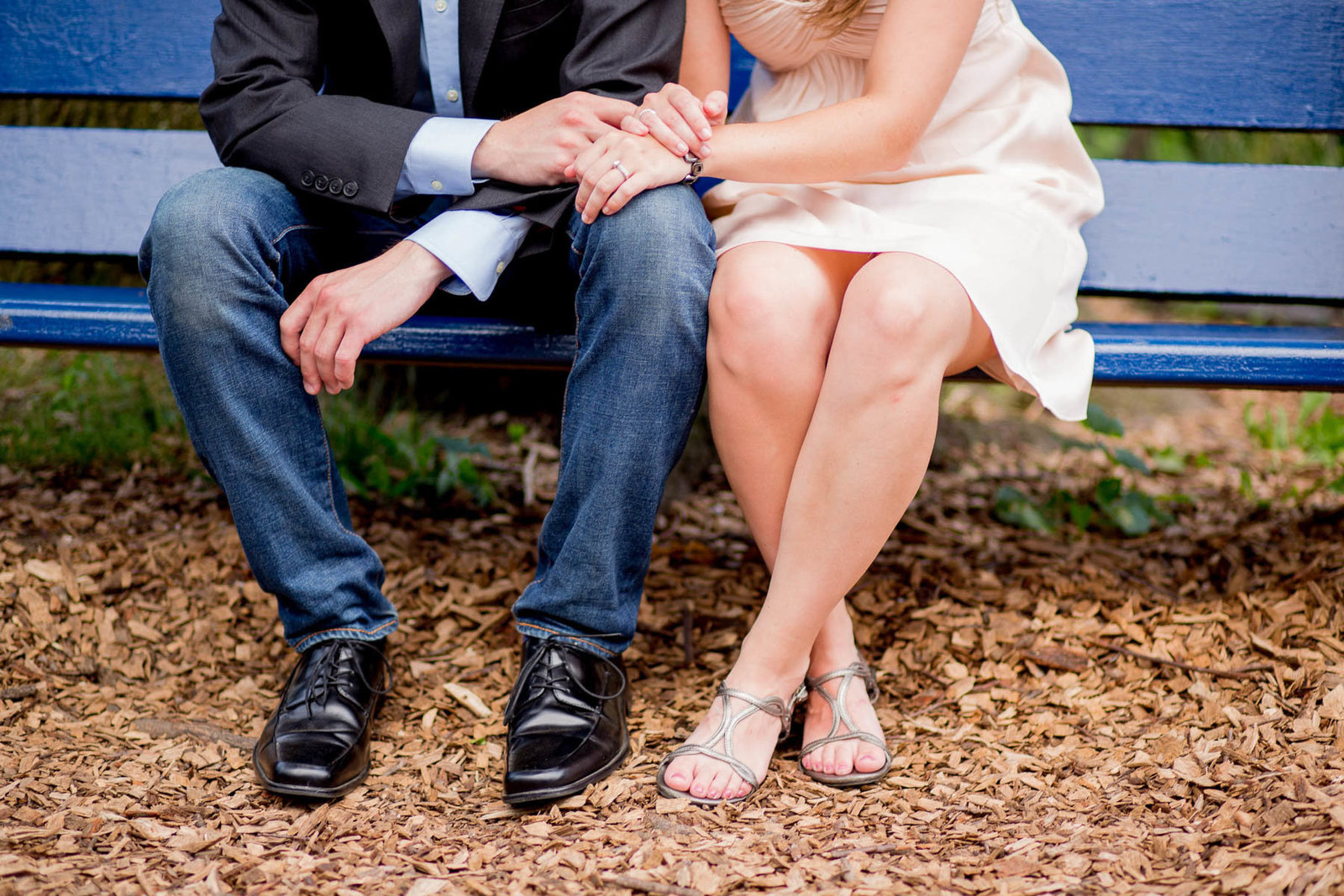 Engaged couple hold hands, Boathouse Row, Kelly Drive, Philadelphia, Pennsylvania
