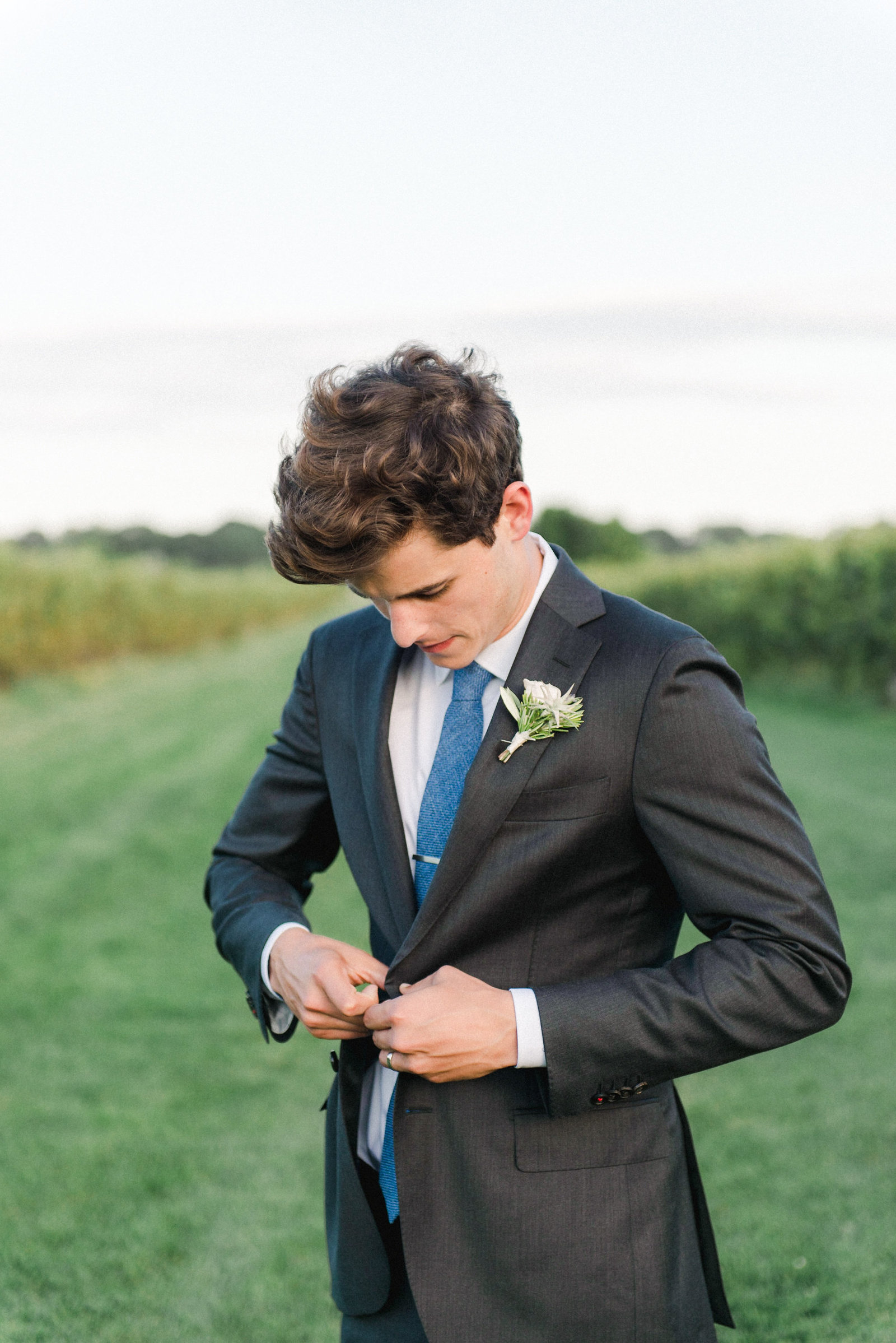 Groom Fashion Gray Suit_Saltwater Farm Vineyard Wedding 2