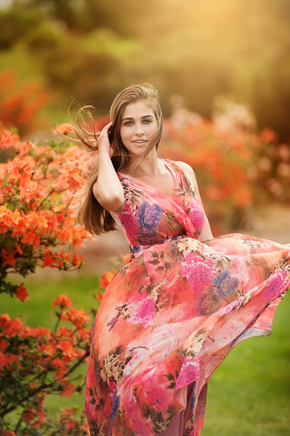 Colorful senior picture of girl with flowers