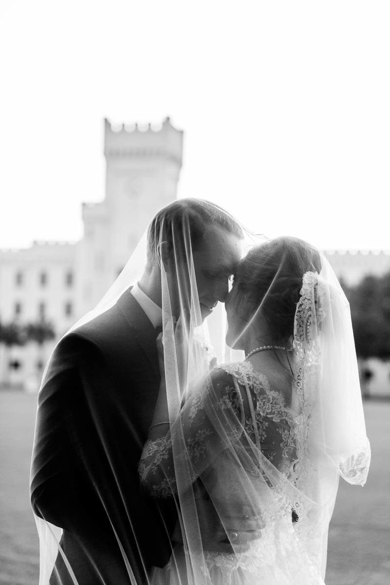 Bride and groom pose at the Citadel, Charleston, South Carolina