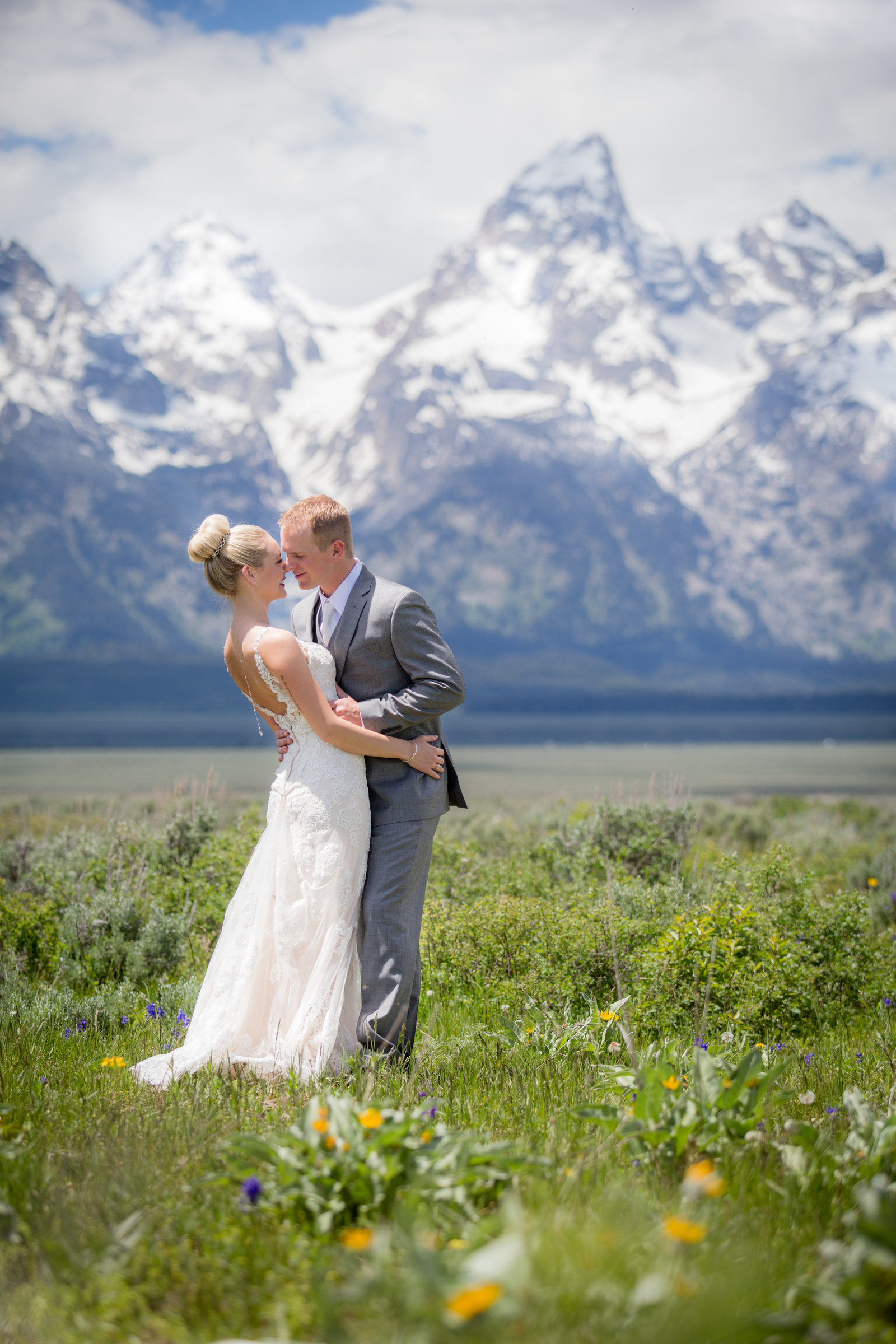 Grand Teton National Park wedding in wildflowers