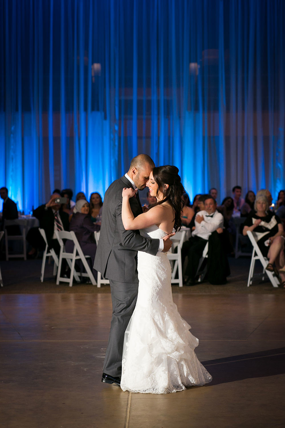 first dance with blue uplighting