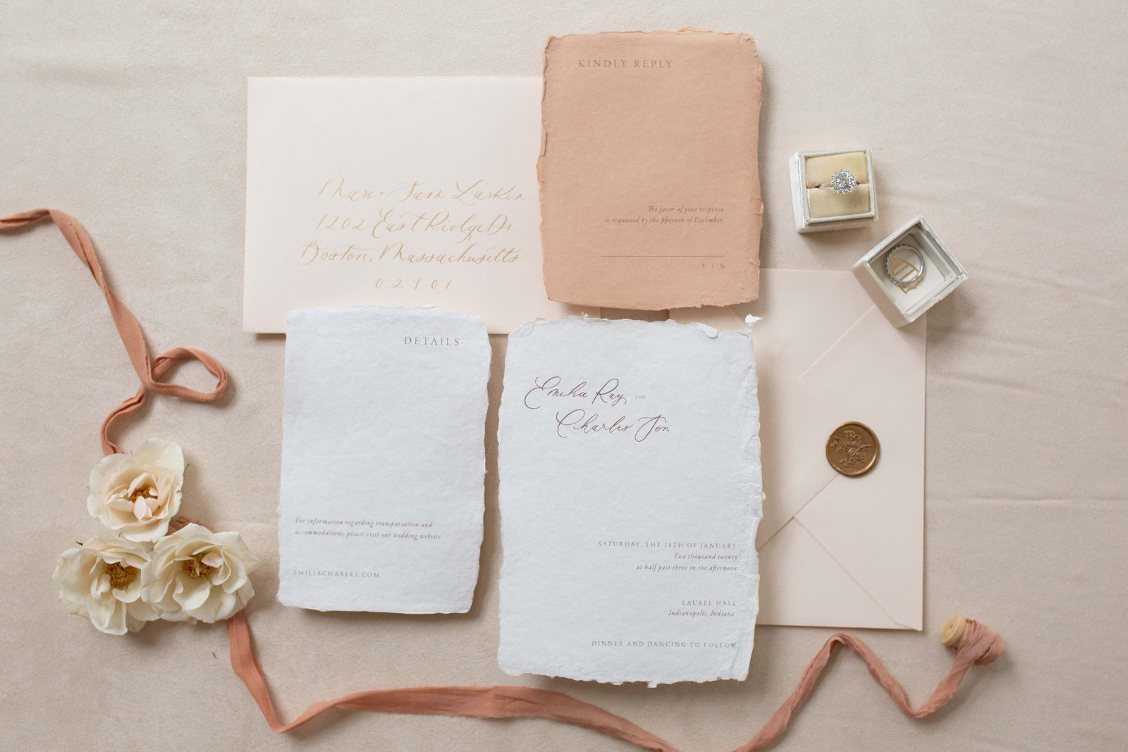 Indianapolis wedding invitation pink blush