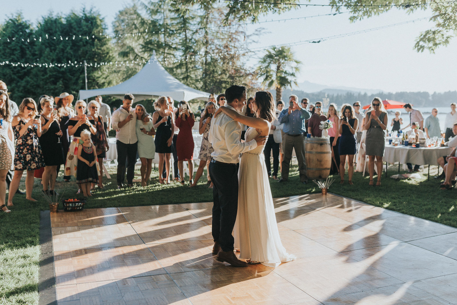 Bride and groom sharing first dance at intimate Vancouver Island wedding