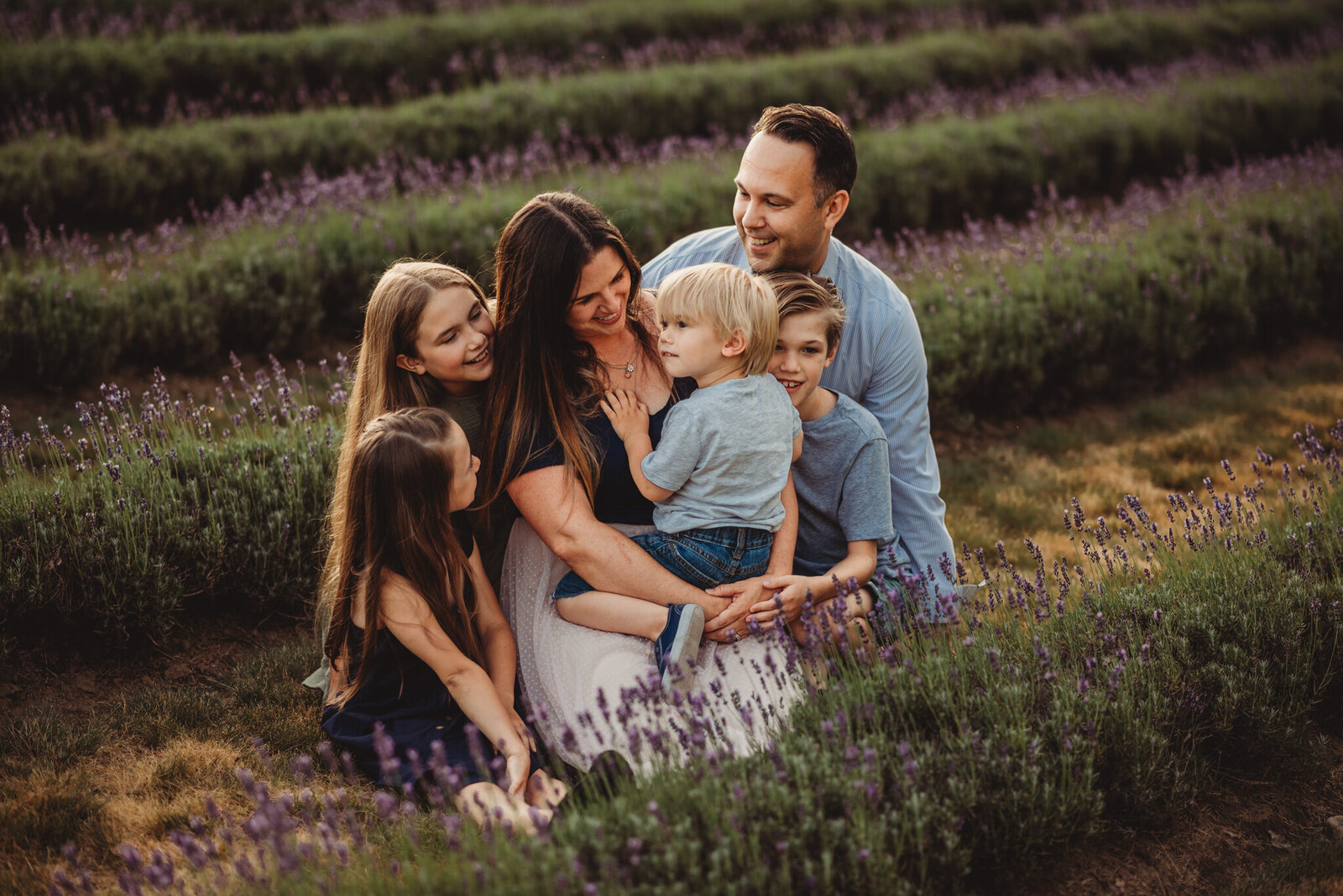 Family of five in a lavender field