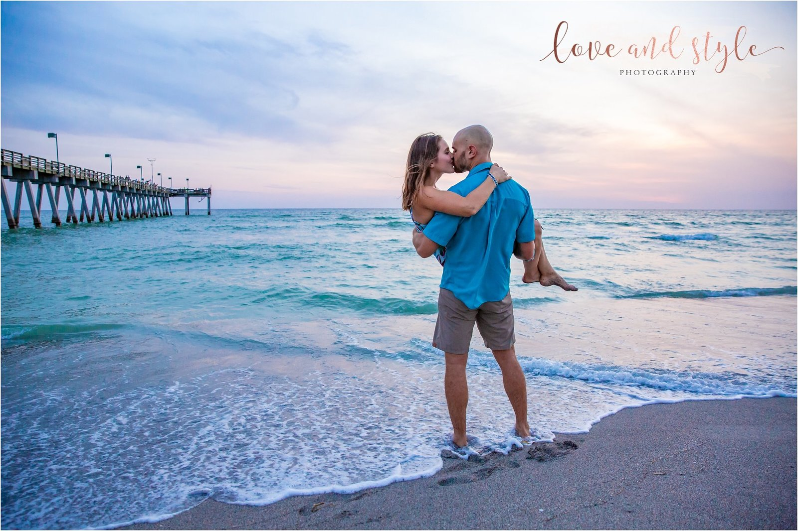 Engagement Photography at the Venice Dog Beach during sunset by the pier