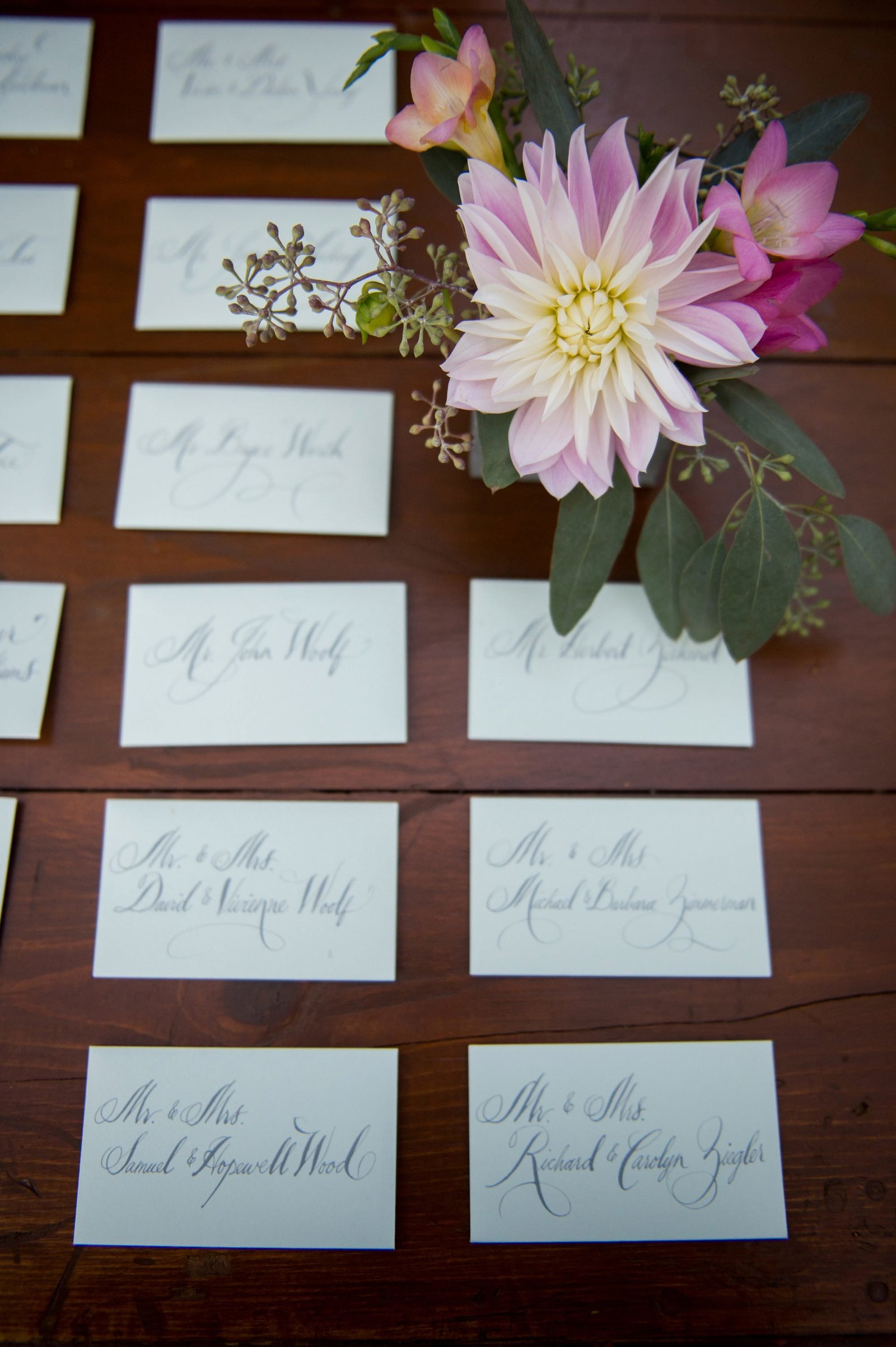 Rustic escort card dsiplay for home wedding in Washington, CT