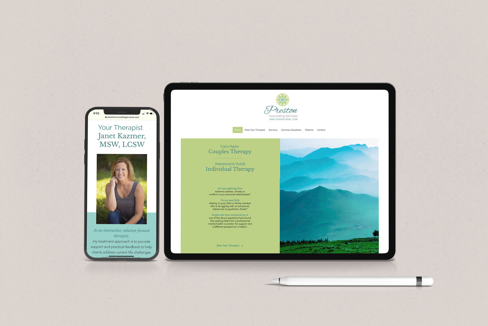 Cool Calming Therapist site neutral mockup