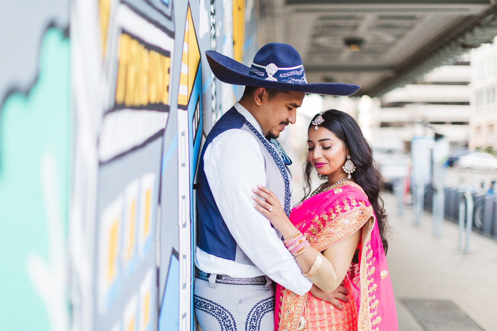 indian and mexican engagment shoot in east bay - downtown oakland