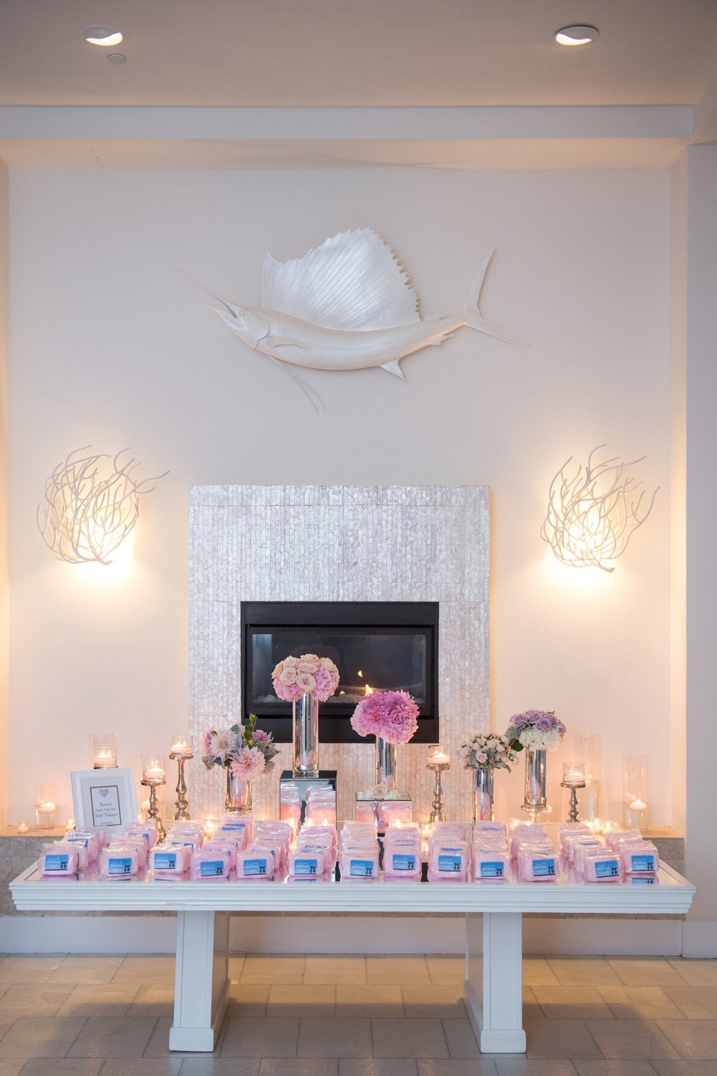 Cotton candy wedding favors at Belle Mer