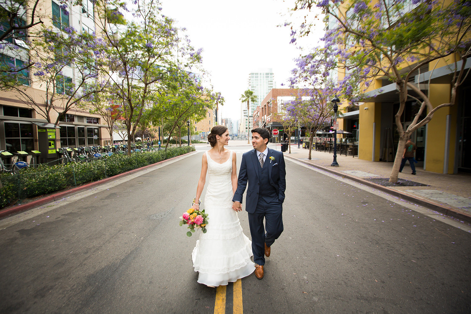 bride and groom in the gaslamp for their luce loft wedding