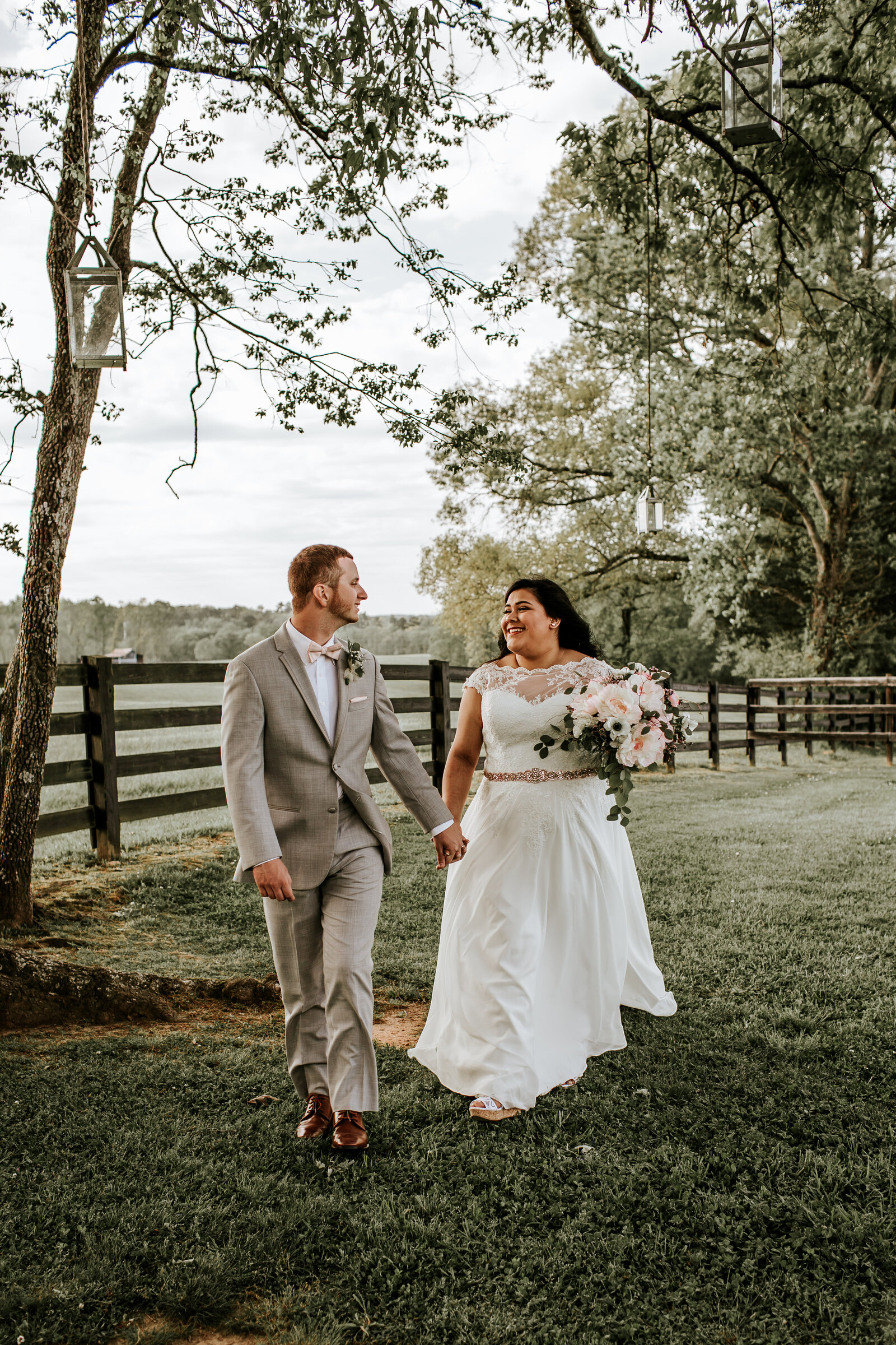 Bride and Groom during their wedding at willowick farm in McDonough, Ga