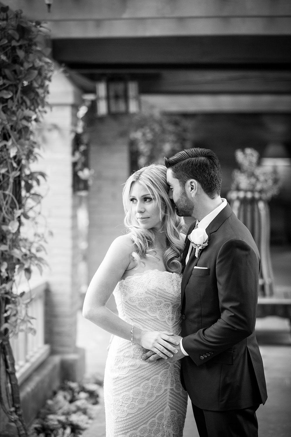romantic black and white with the bride and groom