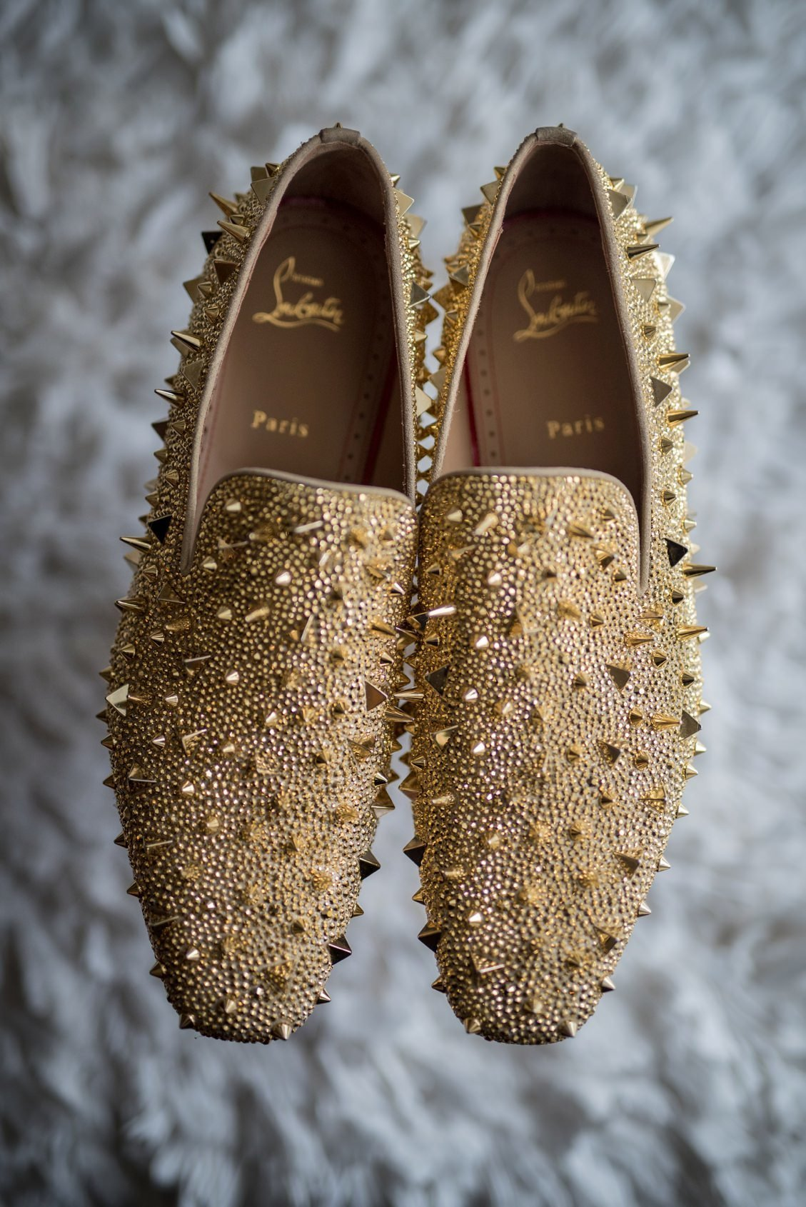 Gold Christian Louboutin wedding day shoes
