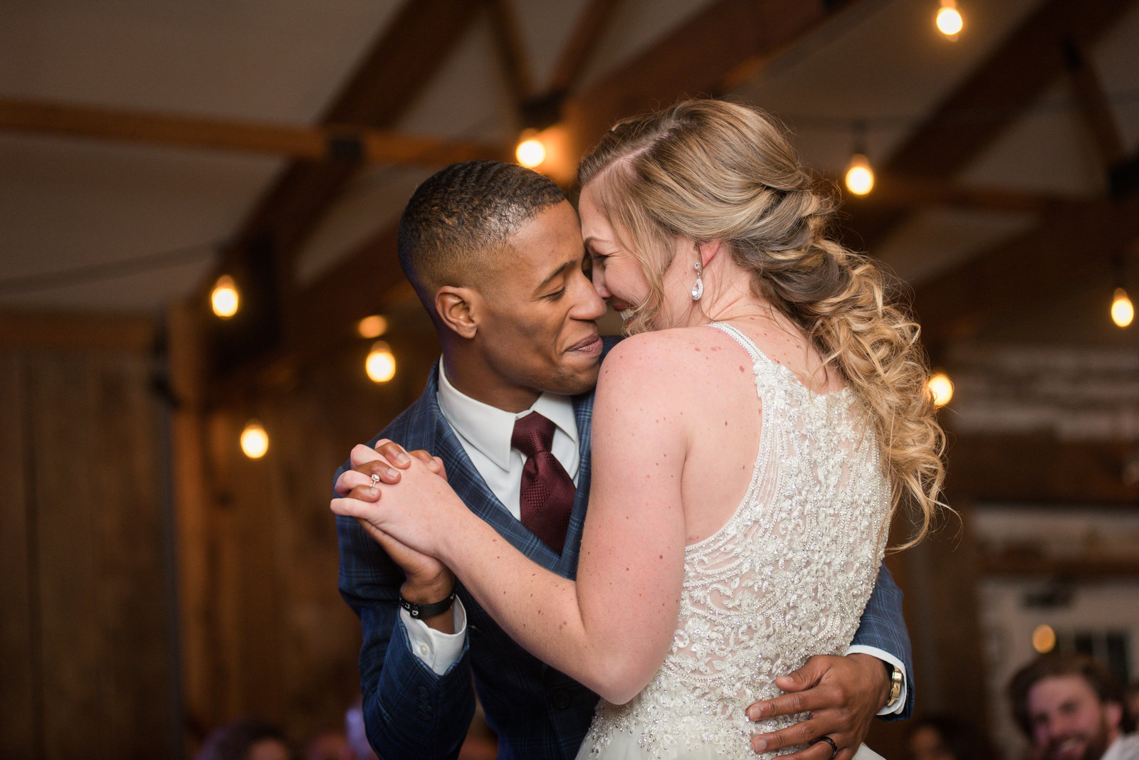 groom dancing with bride at wedding reception at vineyard estate at new kent winery by virginia wedding photographer