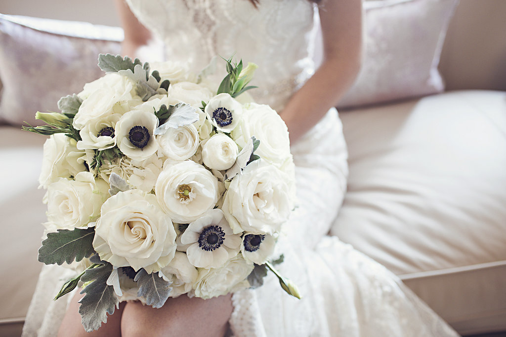 All White Bridal Bouquet with Anemones