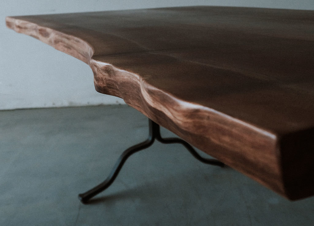 Walnut table metal legs