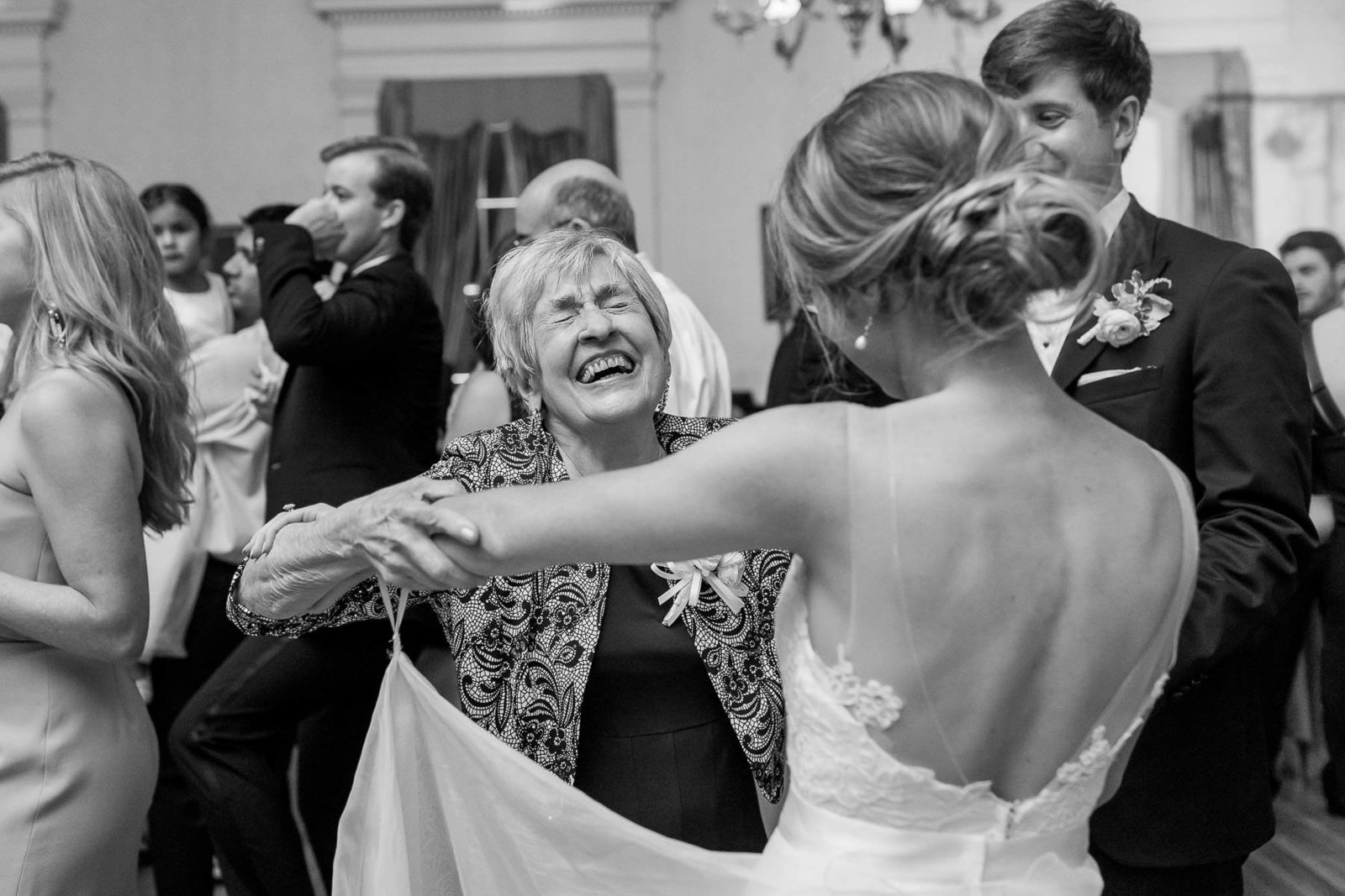 Guests dance at reception, Hibernian Hall, Charleston, South Carolina