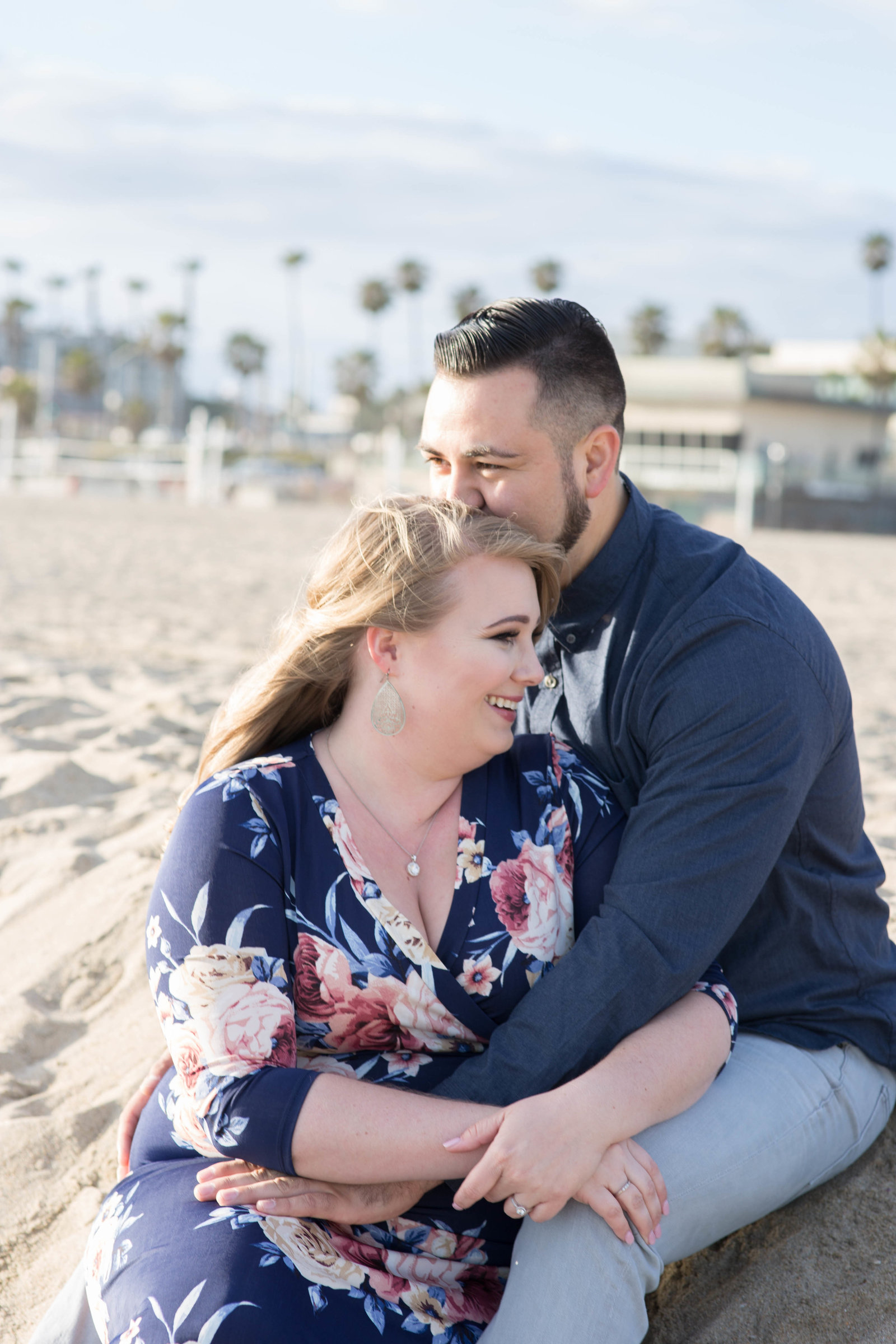 Beach engagement session at Huntington Beach