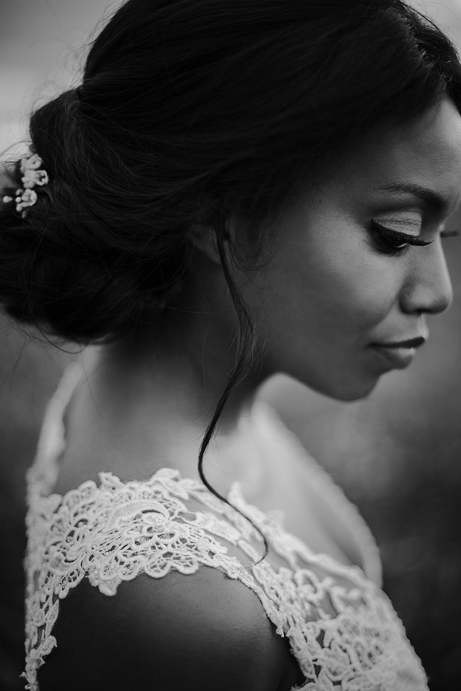 Charlotte wedding photographer Jamie Lucido creates a timeless black and white portrait of a bride