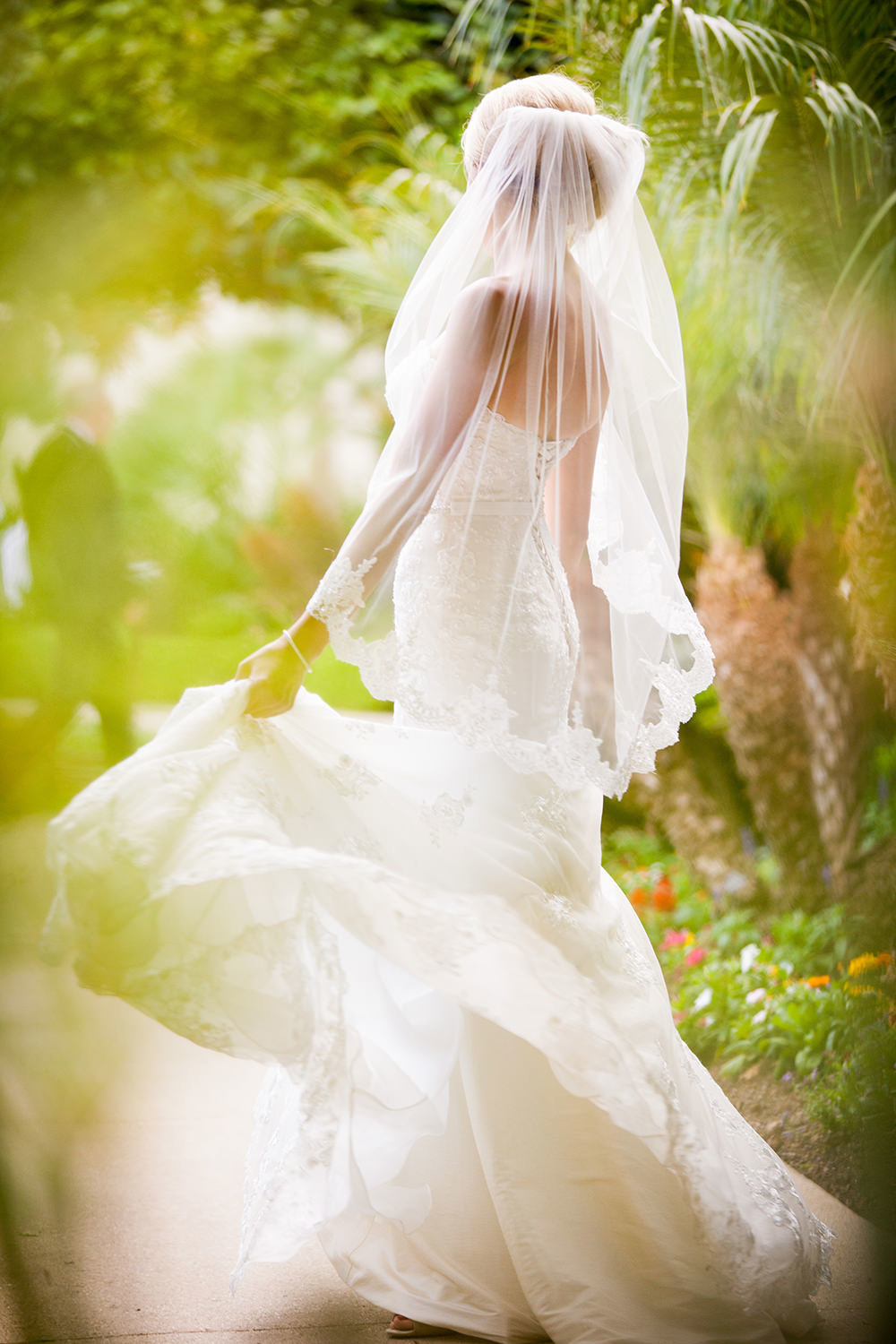 Elegant bridal portrait that shows movement